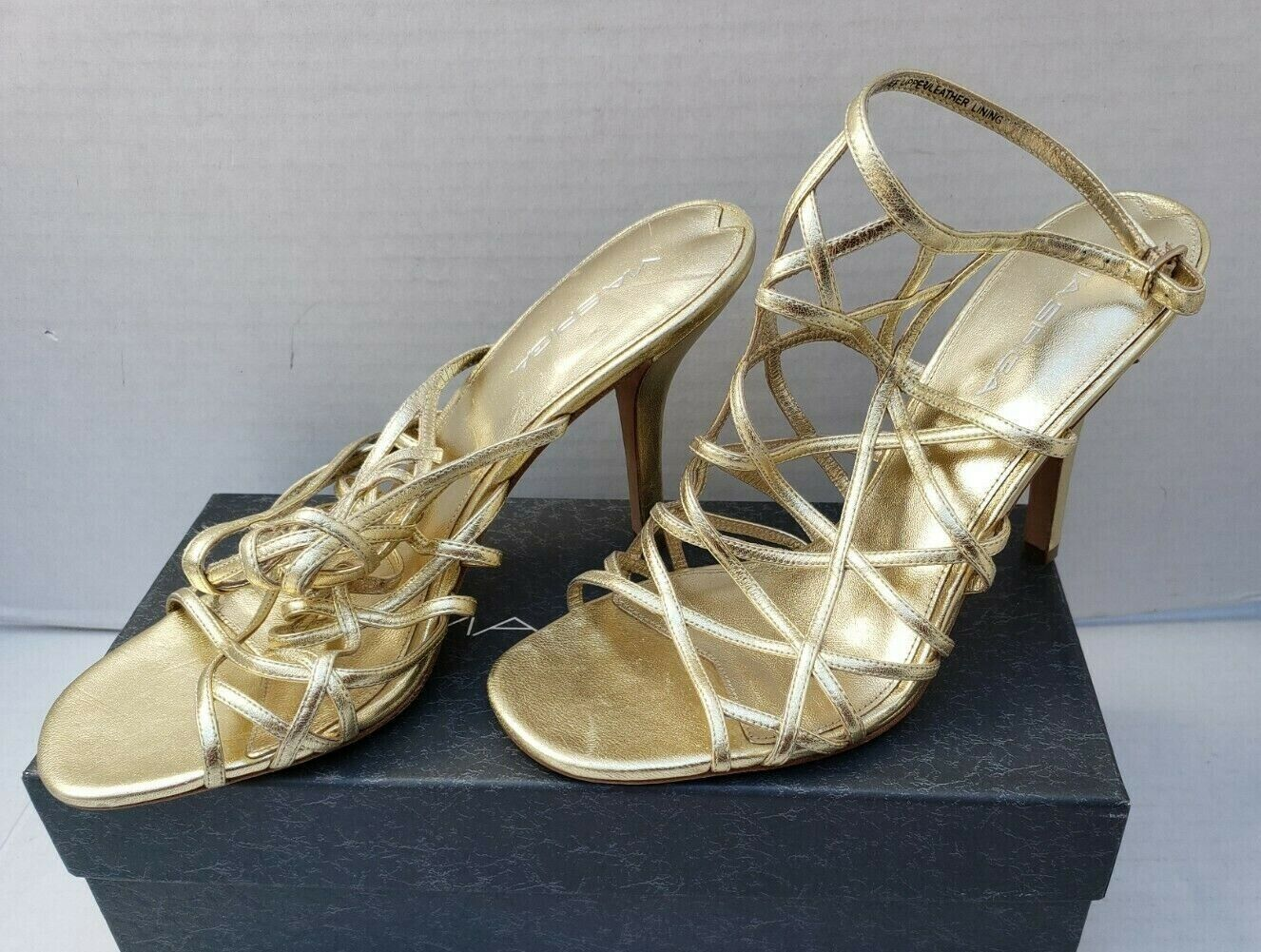 Via Spiga Sandals gold Metallic High Stiletto Heel Leather 9.5 NEW   295
