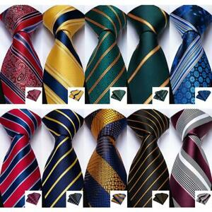Gold-Green-Red-Blue-Black-Stripped-Silk-Tie-Set-Necktie-Hanky-Cufflinks-Formal