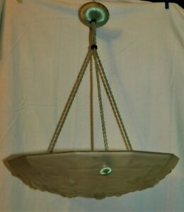 ANCIENNE-SUSPENSION-ART-DECO-LUSTRE-VASQUE-A-FLEURS-H-50-cm-39-cm-REVISEE
