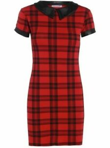WOMENS-LADIES-PVC-PETER-PAN-COLLARED-RED-TARTAN-CHECK-PRINT-MINI-DRESS-TUNIC