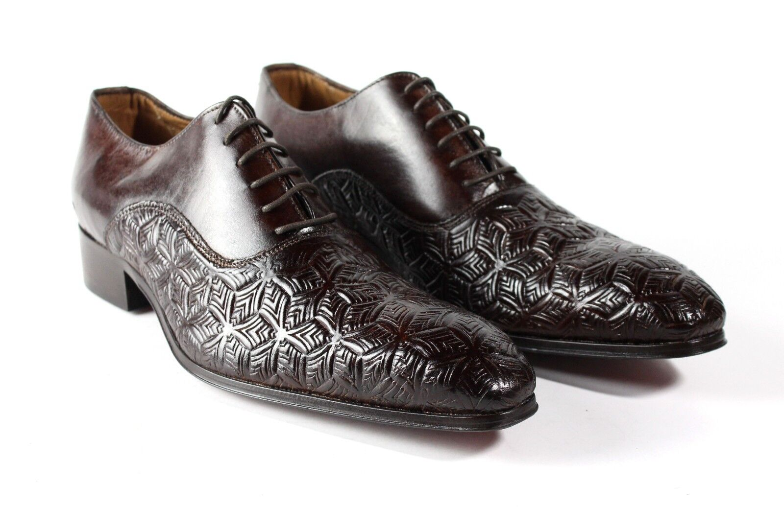 IVAN TROY Brown Zou Handmade Italian Leather Dress shoes Oxford Office shoes