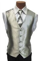 Medium Mens Light Champagne Cerimonia Wedding Prom Fullback Tuxedo Vest w/ Tie