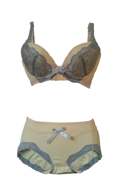 Aimerfeel-womans beige underwire bra includes briefs with net design and bow.