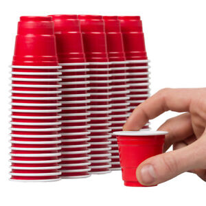 120ct Mini Red Solo Cups 2oz Plastic Disposable Shot Glasses Party Shooter Jello