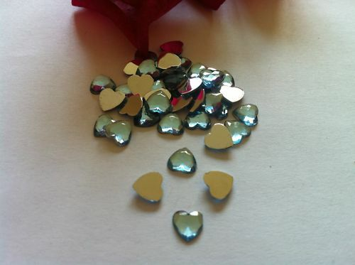 200 FLAT BACK 6mm HEART GEMS BLUE w// MIRROR BACK