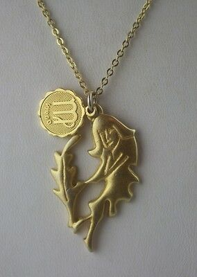 2 Virgo pendants antique gold tone