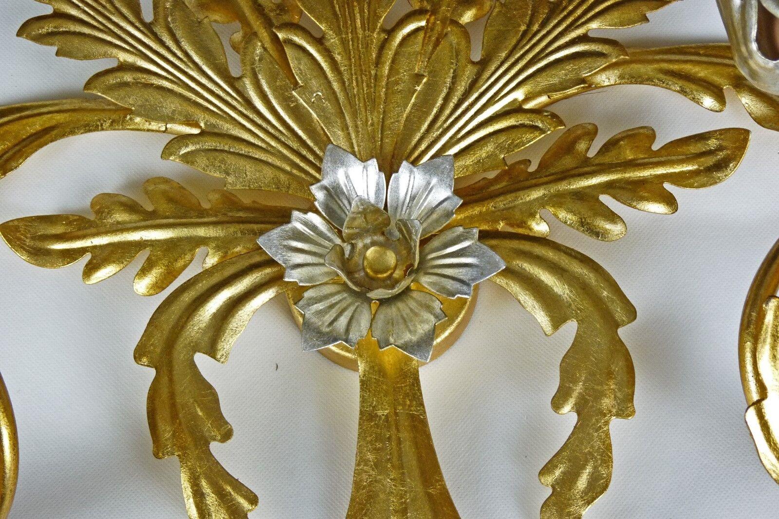 Appliques lampada ferro battuto foglia oro antico rustico made