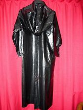SBR shiny black rubber mackintosh raincoat & hood 48 chest X  long