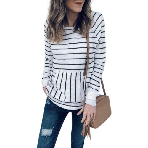 BW#A Simple Stripe Round Neck Basic T-shirt Women Pockets Loose Pullover Tops