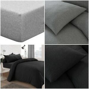 Jersey-Yarn-Poly-Cotton-Fitted-Sheet-Bed-Sheets-Single-Double-King-Super-King