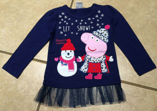 NWT Girls Peppa Pig Pink Flower Power Grahic L//S Shirt Tee Top Size 4 4T