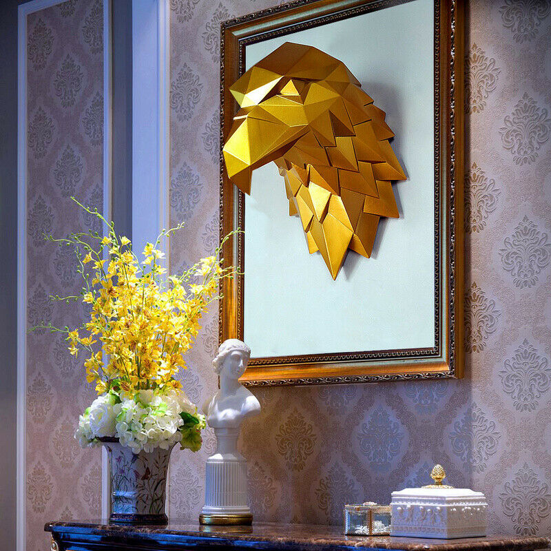 accueil Decor 3D Eagle Head Statue Animal Abstrait Sculpture Wall Hanging figurines