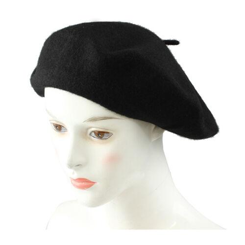 H3 Damen Muetze Baske Baskenmuetze Wollmuetze Beret Cap-schwarz
