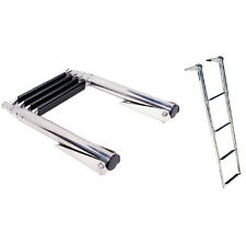 Top Mount 4 Step Stainless Steel Fold Up Telescoping Ladder for Boats