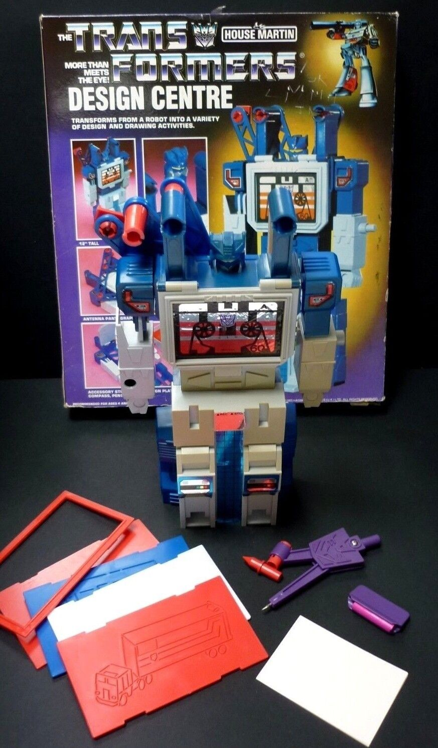 Transformers G1 Soundwave Centro Progettazione originale in scatola Balestruccio Hasbro 1985