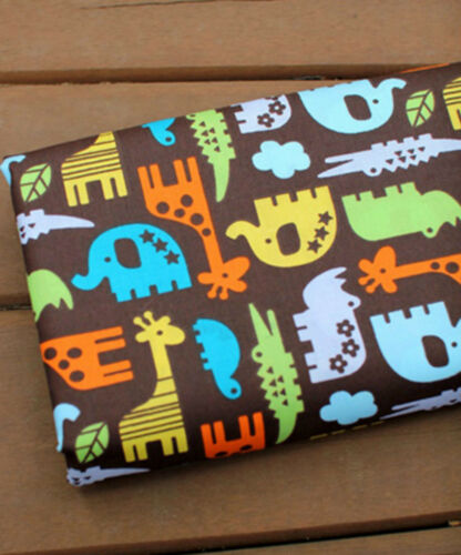 Elephant ZOO zoo Cotton Blend Fabric BY THE YARD Quilting Polycotton JCB39*