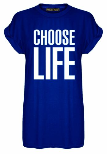 Womens Oversized Short Turn Up Sleeve Choose Life Printed Long Dress Top 8-22
