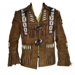 f195b5ca6e9 New Mens Native American Western Scully Suede Leather Jacket Fringes ...