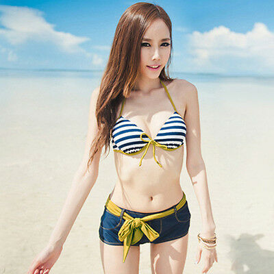 Women's Sexy Bikini Push-up Padded Bra Bathing Suit Swimsuit Swimwear + Short