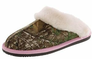 WOMENS REAL TREE PINK CAMOUFLAGE CAMO HOUSE SHOES SLIPPERS