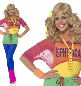 FANCY-DRESS-LADIES-LETS-GET-PHYSICAL-80-039-s-CLUBBING-COSTUME-hanging
