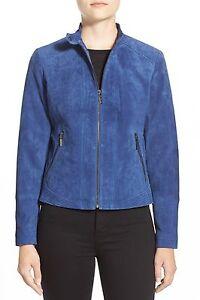 suédé veste ~ S marine cuir M ~ nordstrom Nwt en manteau Nouvelle véritable bleu Xl Bernardo ExwXCp7qI