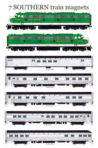 Southern Railway Southern Crescent set of 7 magnets Andy Fletcher