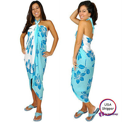 1 World Sarongs Womens Hibiscus Sarong Light Blue/ Turquoise Cover-Up Skirt Wrap