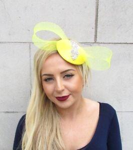 Yellow-Silver-Bow-Fascinator-Pillbox-Hat-Races-Cocktail-Diamante-Hair-Clip-4754