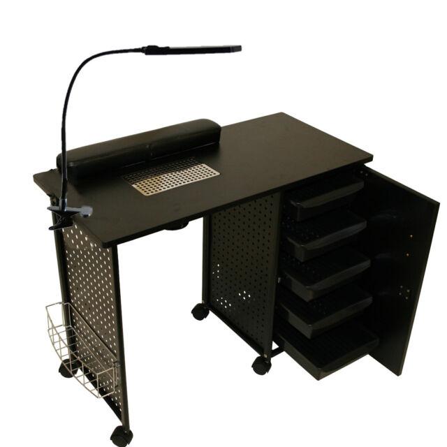 Manicure Table For Sale >> Black Steel Frame Vented Manicure Nail Table Desk Station Spa Salon