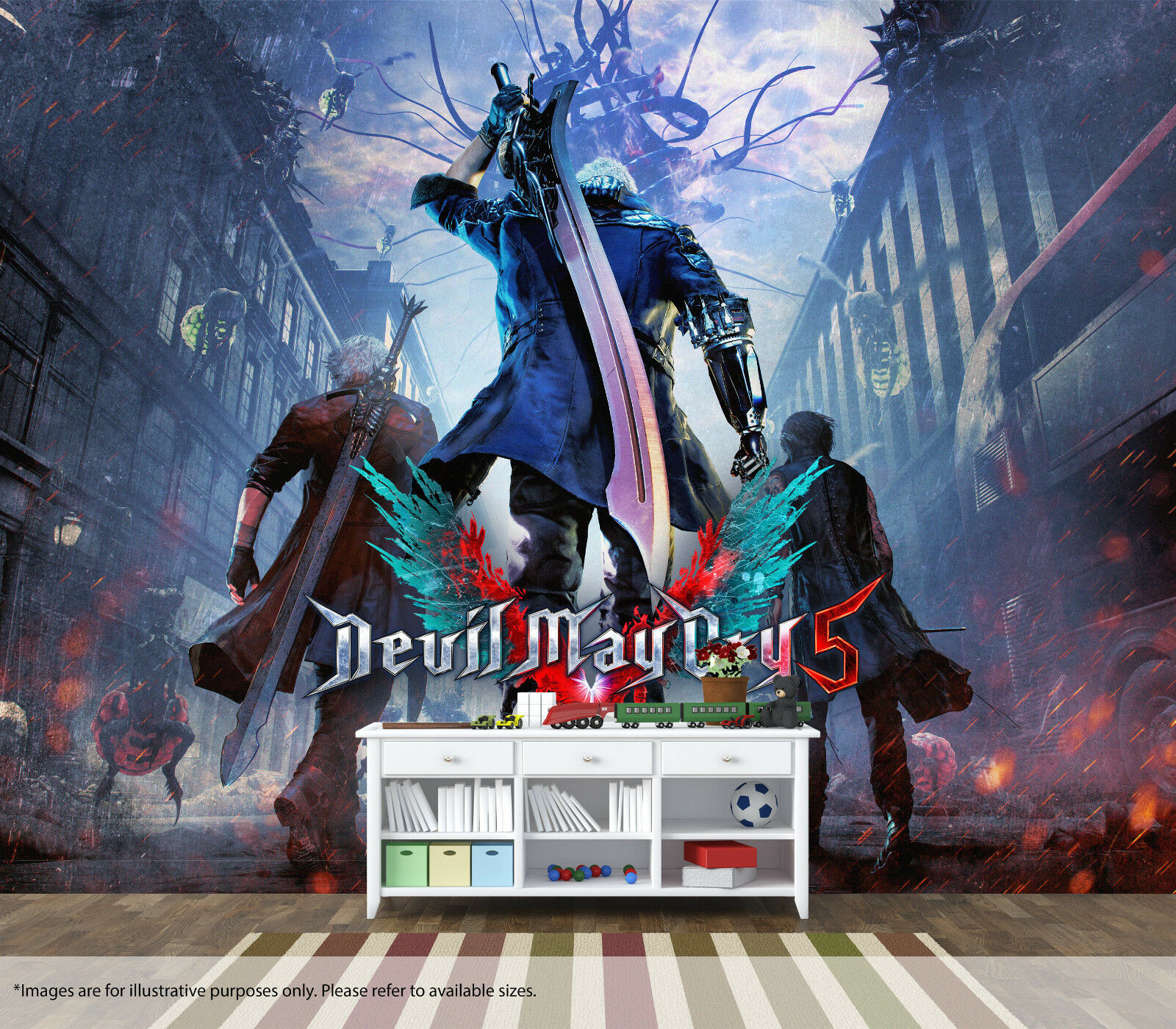 Devil May Cry Gamer Wall Art Mural Quality Pastable Wallpaper Bedroom Decor