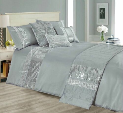 5 Pieces Duvet Cover Bedding Set With 2 Pillowcase 1 Bed Runner 1 Filled Cushion