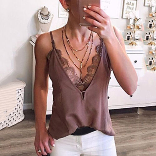 Women Lace Vest Sleeveless V-Neck Tank Tops Loose Camisole Casual Blouse T-Shirt