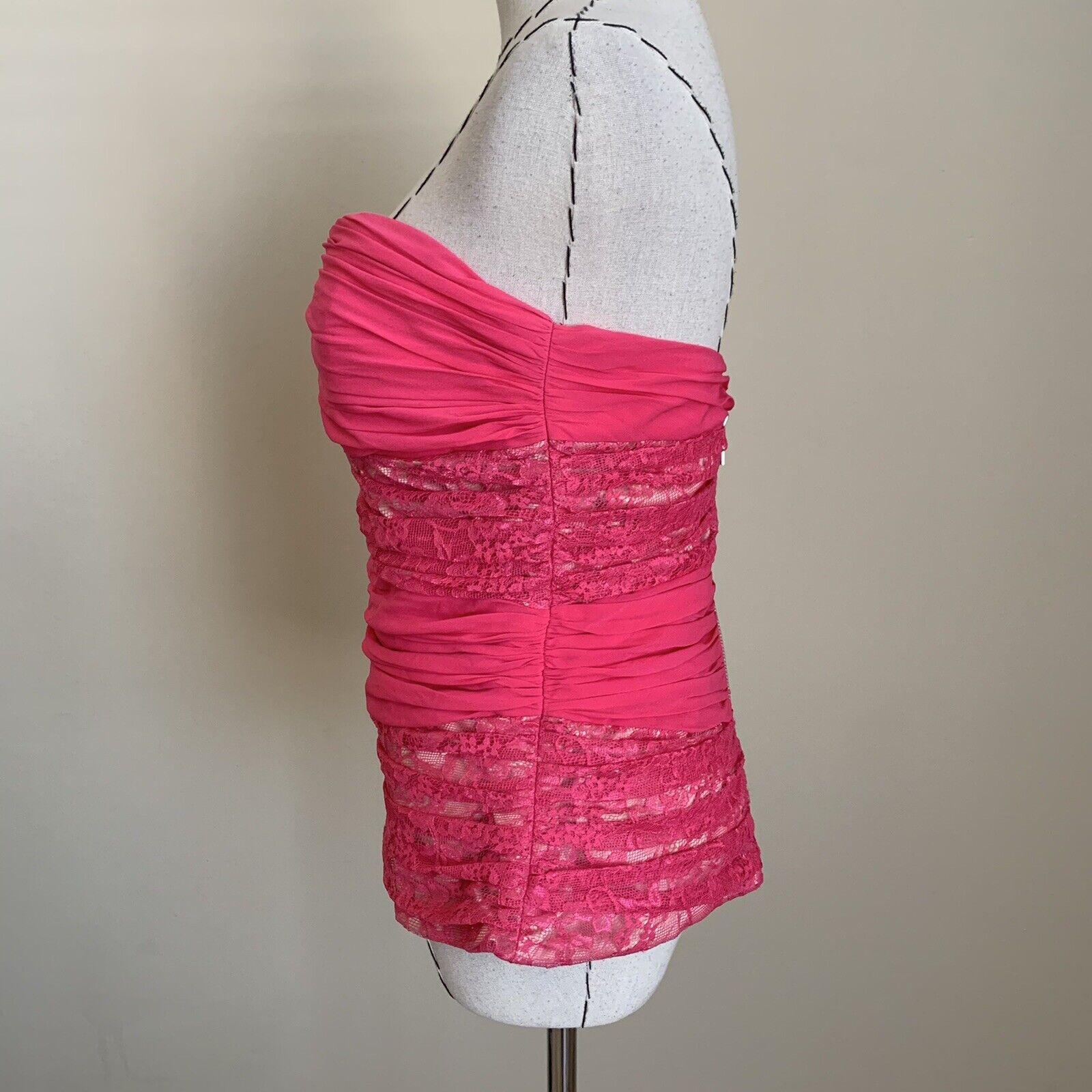 Vintage Y2K 90s BEBE Hot Pink Lace Silk Bustier C… - image 4
