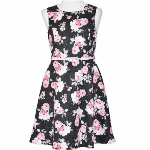 GIRLS size 12 lined Black FLORAL Party DRESS pink belt NEW Formal graduation 675