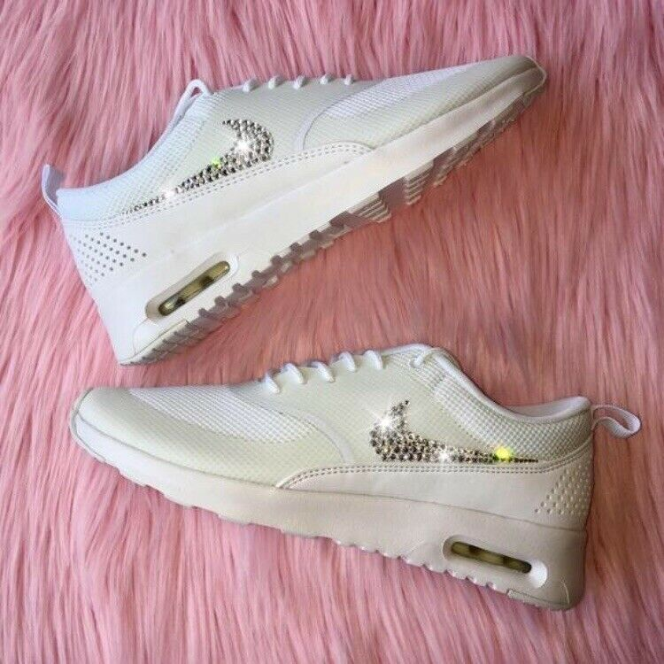 SALE  Bling Nike Air Max Thea w  Swarovski Crystal Swoosh Triple All White shoes