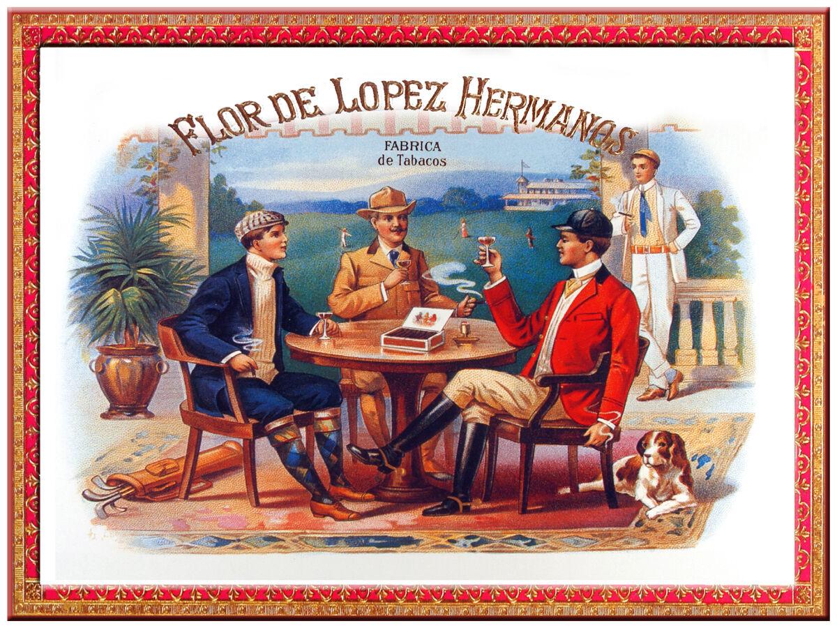 16x20 Decoration CANVAS.Interior design art.Flor de Lopez cigar label.6322