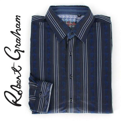 Robert Graham Blue Striped Long Sleeve Shirt size