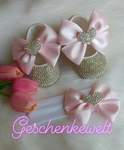 Babyset Schuhe mit Stirnband Handmade