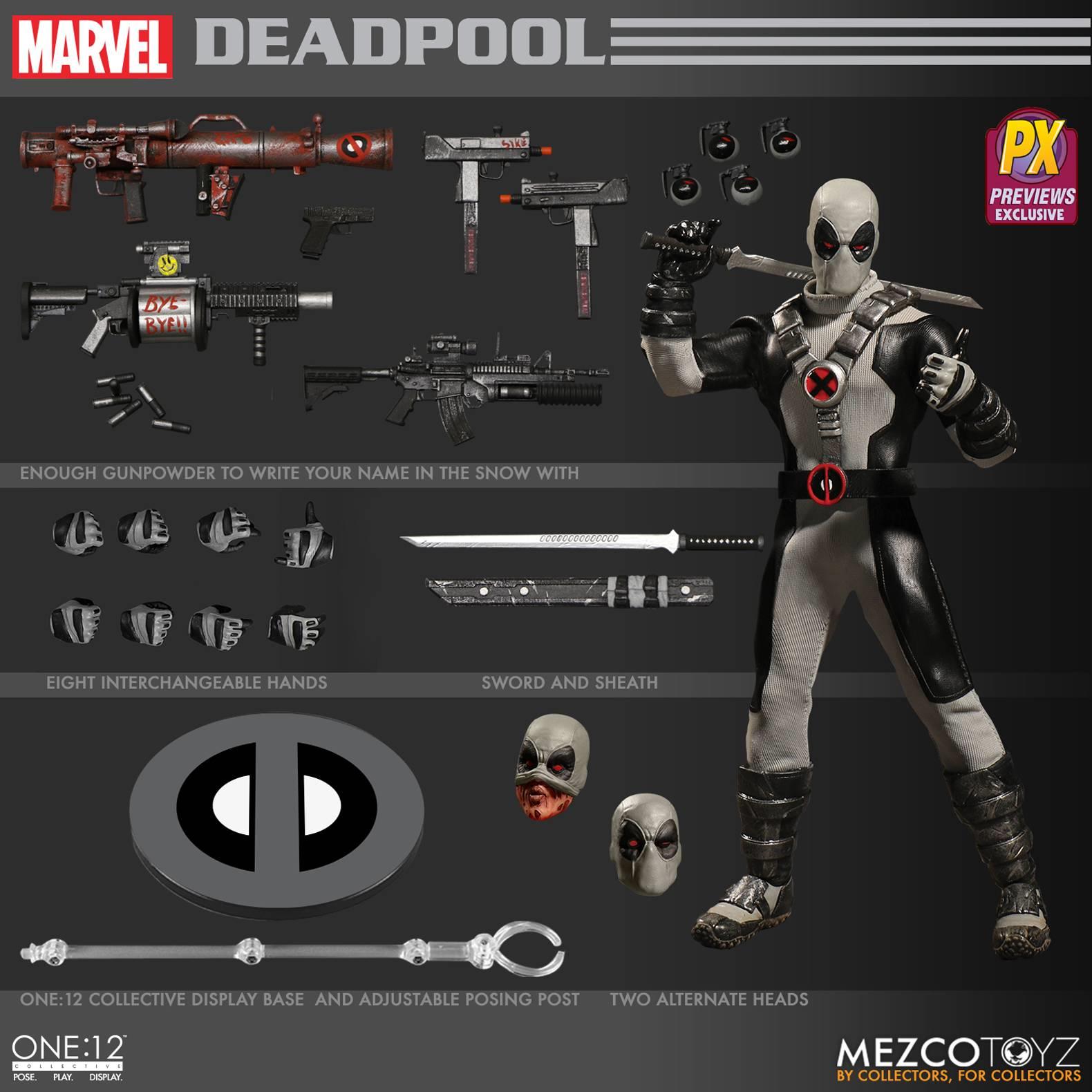MEZCO  ONE-12 Collectif X-Force Deadpool PX Exclusive Action Figure  10 jours de retour