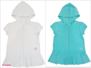 Toddler Girl 2T-4T White Blue Hooded Terry Swim Beach Cover Up Toddler