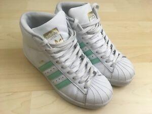 Increíble Juntar explosión  Adidas Youth Boys Girls White Mint Green Pro Model Shell Toe High Top Shoe  Sz 4 | eBay