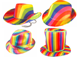 1b7550063 Details about Fancy Dress Rainbow Gay Pride Festival Hats - Cowboy Gangster  Sequin