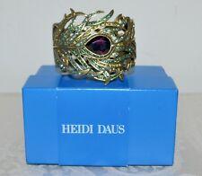 """NIB $270 Heidi Daus """"Pretty as a PEACOCK"""" Amethyst Crystal Cuff Bracelet S/M"""