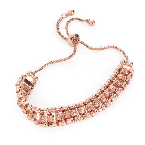 Cristal melocotón color oro rosa pulsera ajustable Damas Moda Joyería