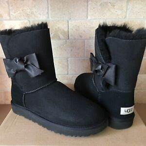 45cac9b5540 Details about UGG Daelynn Black Leather Bailey Bow Suede Classic Short  Boots Size US 7 Womens