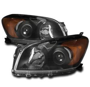 Fit 2009-2012 Toyota RAV4 Black Housing Clear Side Projector Headlight//Lamp Set