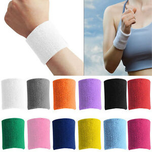 Sports-Basketball-Unisex-Cotton-Protect-Sweatband-Wristband-Wrist-Band-New