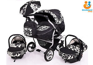 Image Is Loading Twin Pram Pushchair Double Buggy Car Seats Footmuffs