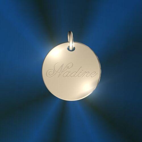 Silber 925 Inkl Initiale Gravur 1,5 cm Namenskette Runder Anhänger